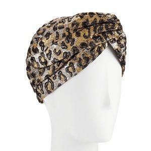 GUCCI Leopard Print Gold and Silver Turban - NWT